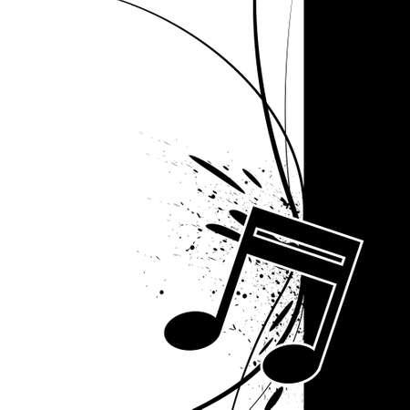 music note with ink splatter Illustration