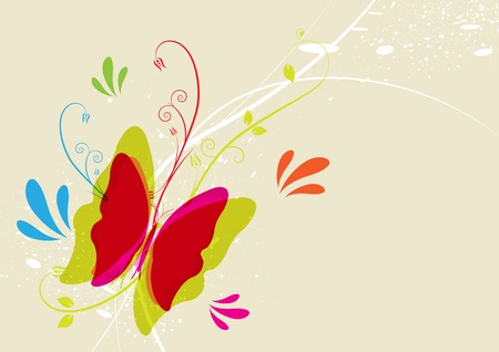 Butterfly and floral Vector