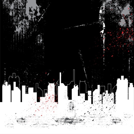 unclean: city and grunge background Illustration