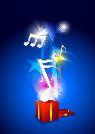 music floating from gift box Illustration