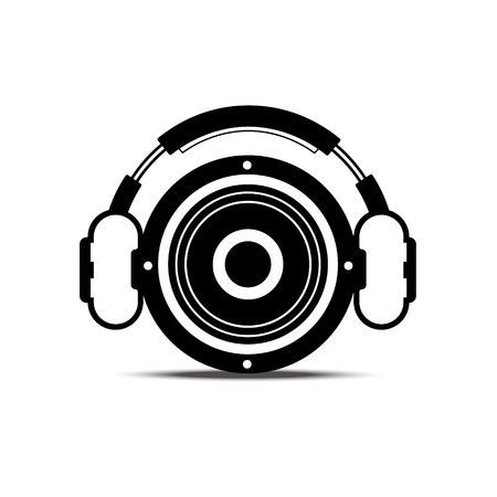 black and white headphone and speaker : music concept Stock Vector - 14262944