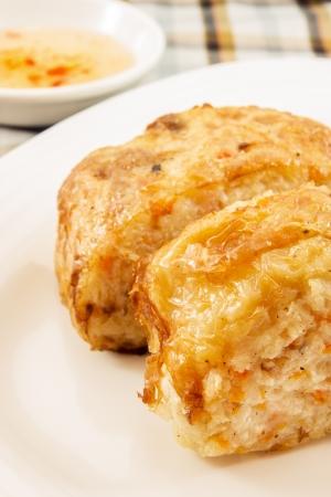 hoisin sauce: Turnip Cake : chinese and vegatarian food Stock Photo
