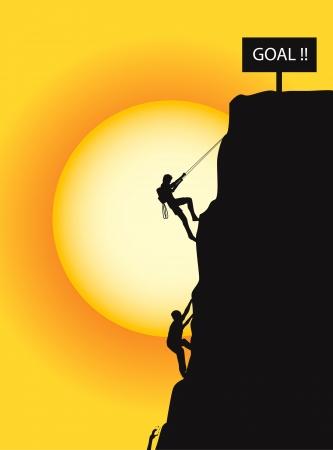 bergbeklimmen: klimmen naar het doel Stock Illustratie