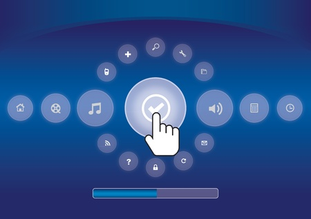 hightech: hand icon pushing touchscreen with process bar Illustration