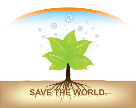 root of tree hold on ground for earth Stock Vector - 14708459