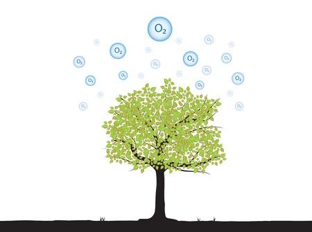 zuurstof: boom met zuurstof in de atmosfeer boven drijven Stock Illustratie