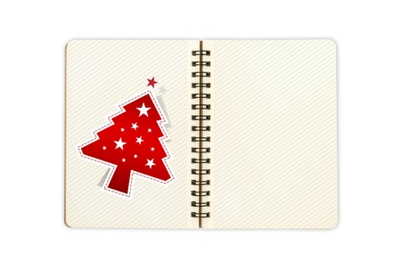 notbook with christmas tree; contain clipping path photo