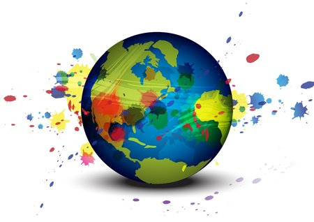 globe and ink splatter background Vector