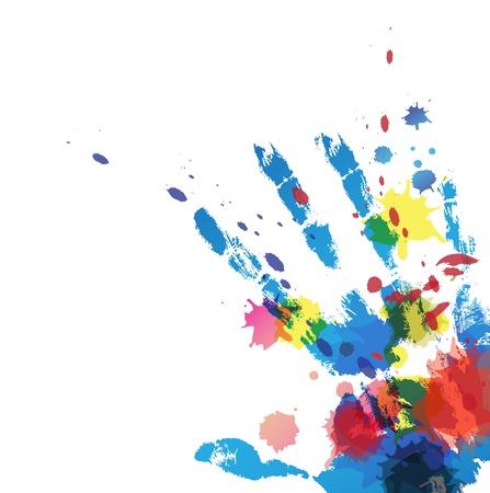 hand afdruk met inkt splatter