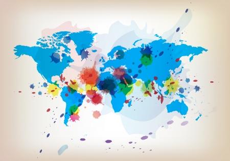 wereldkaart en aquarel Stock Illustratie