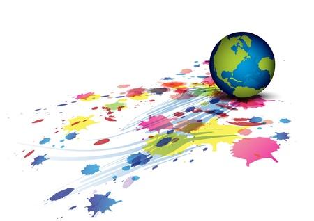 globe and ink splatter background