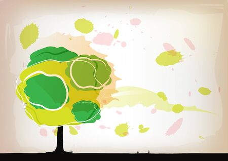 tree watercolor background Stock Vector - 15235496