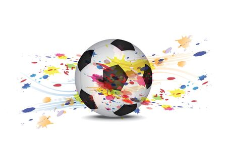 soccer ball and ink splatter background design Vector