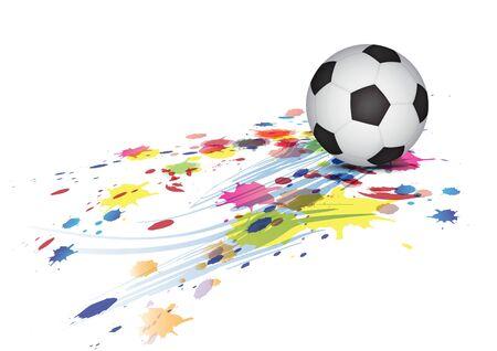 footbal: soccer ball and ink splatter background Illustration