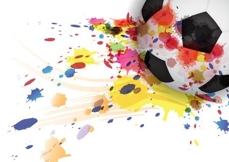 soccer ball ink splash design background Vector