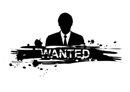 dangerous work: wanted design with silhouette man