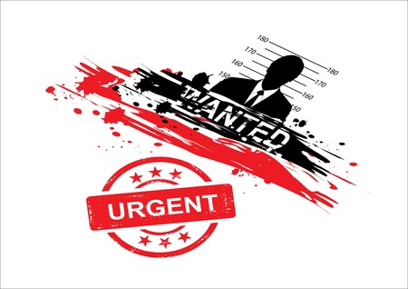 wanted design with stamp urgent Vector