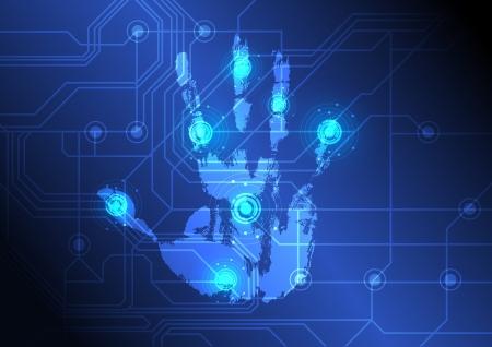 el análisis de la mano con escáner Ilustración de vector