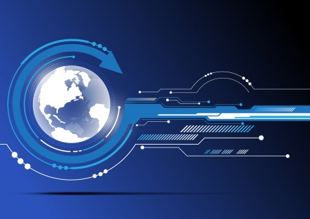 globe en technologie achtergrond ontwerp Stock Illustratie