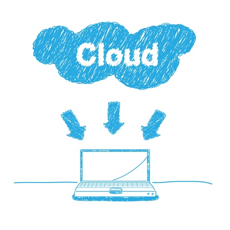 private cloud: handwriting sketch cloud computing concept Illustration