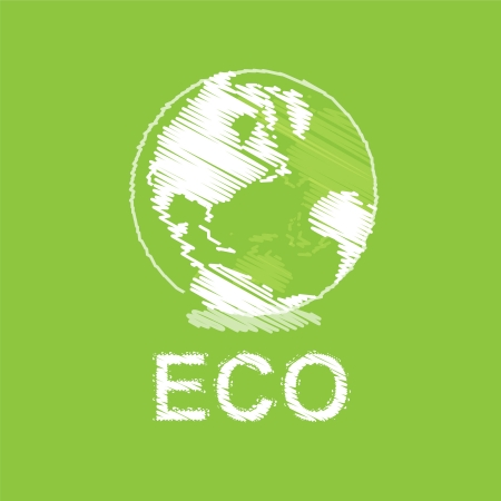 green eco and globe design Vector