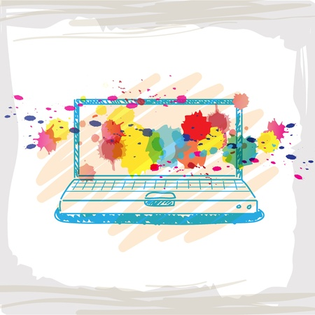 handwriting sketch computer and ink splash Stock Vector - 15352201