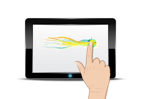 Tablet computer with hand drag on screen Stock Vector - 15352210
