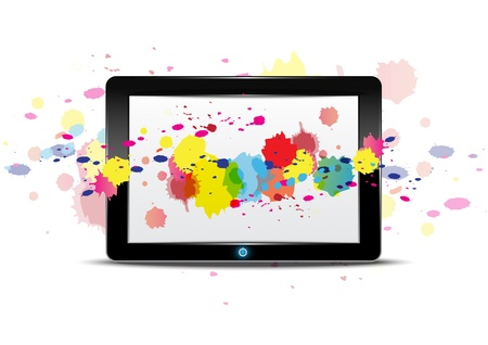 Tablet computer with color splash on screen Stock Vector - 15473950