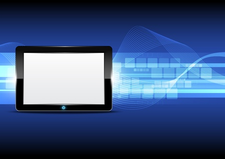 Tablet computer with technology background Stock Vector - 15474030