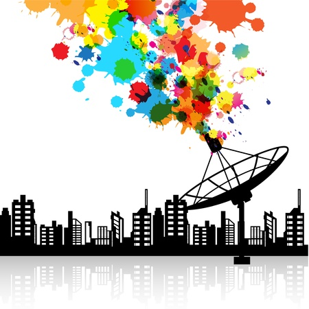 satellite tv: abstract satellite dish signal Illustration