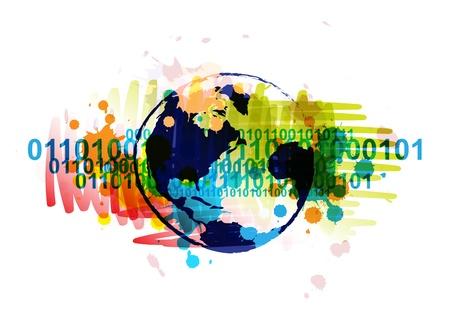 digitale wereldbol banner met kunst achtergrond ontwerp