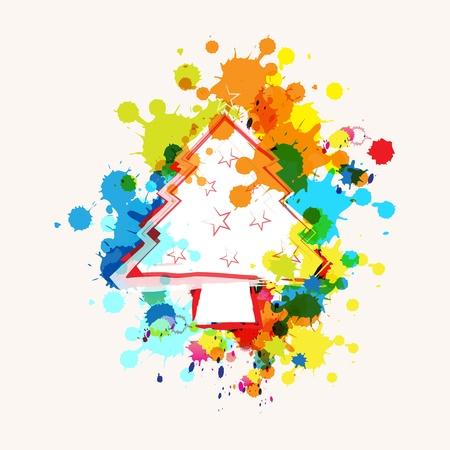 christmas tree on ink splatter background Stock Vector - 15474002