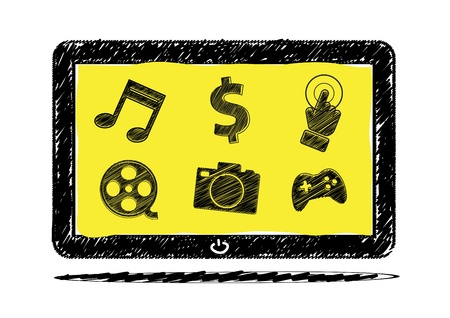 Tablet computer sketch with icon Stock Vector - 15641764