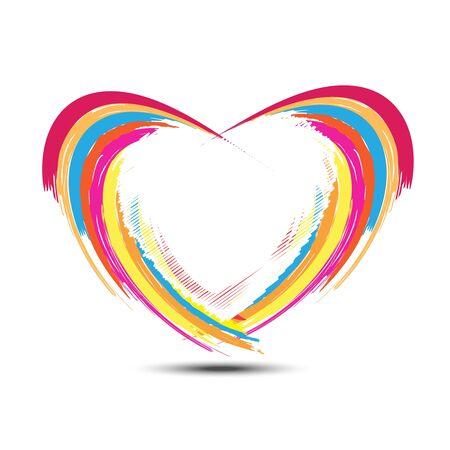 kalp: soyut gökkuşağı kalp tasarımı Çizim