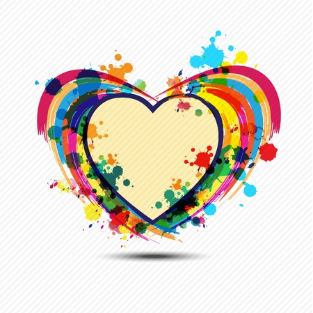 artistic heart paint design Vector