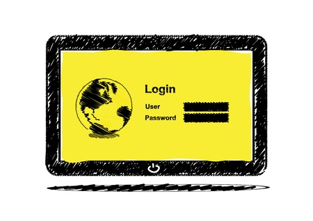 Sketch drawing Tablet computer with login screen Stock Vector - 15810935
