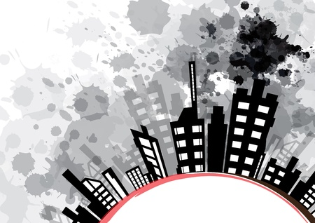 pollution: abstract urban design with black ink splash Illustration