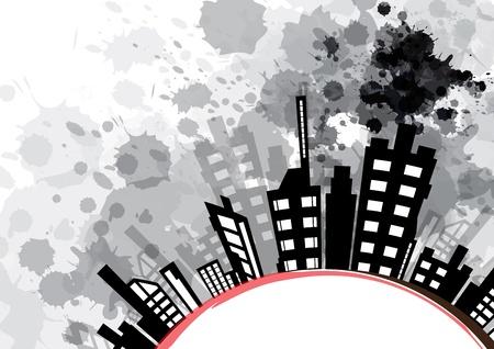 abstracte stedelijke ontwerp met zwarte inkt splash Stock Illustratie