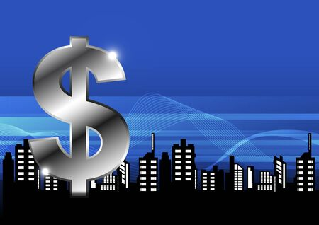 money with city illustration Vector