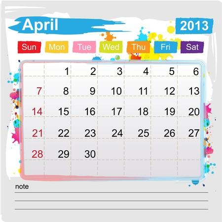 Calendar April 2013 , Abstract art style Stock Vector - 16219976