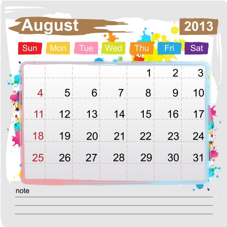 Calendar August 2013 , Abstract art style Stock Vector - 16219980