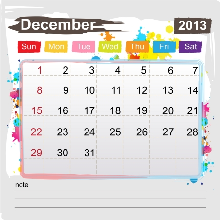 Calendar December 2013 , Abstract art style