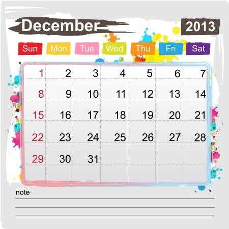 Calendar December 2013 , Abstract art style