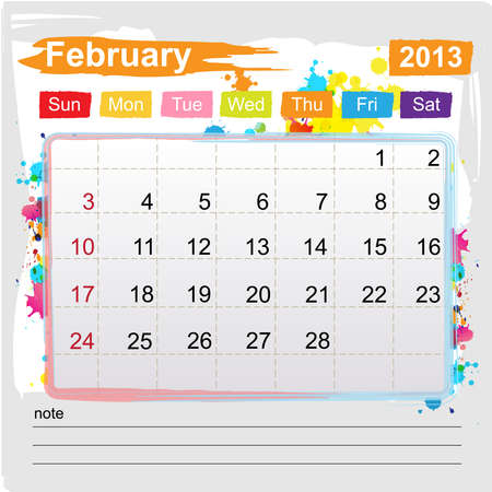 Calendar February 2013 , Abstract art style Vector