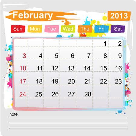 Calendar February 2013 , Abstract art style Stock Vector - 16219975