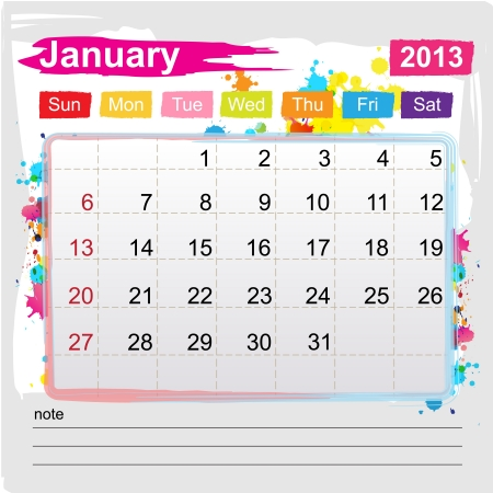 Calendar January 2013 , Abstract art style
