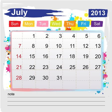 Calendar july 2013 , Abstract art style Illustration