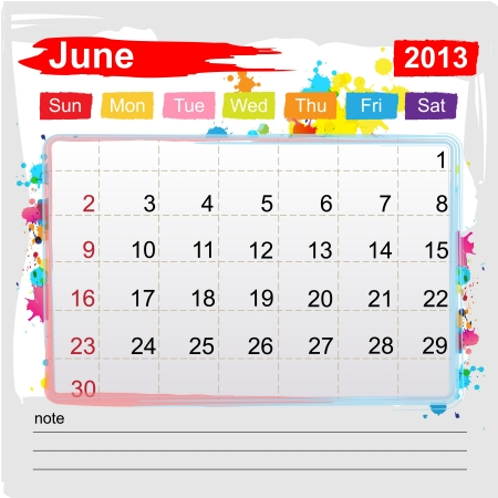 Calendar june 2013 , Abstract art style Vector