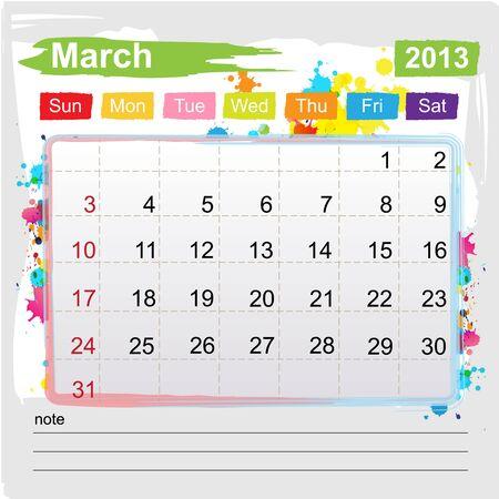 Calendar March 2013 , Abstract art style Stock Vector - 16219977