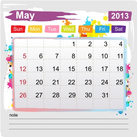 Calendar May 2013 , Abstract art style Stock Vector - 16219982